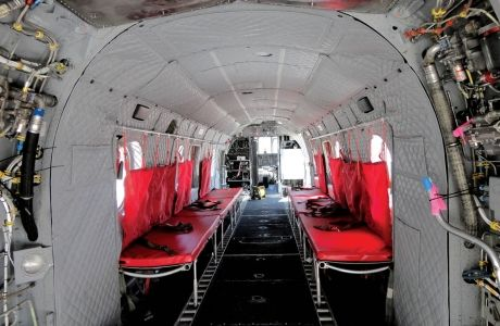 The interior of a US Department of State CH46 VIP