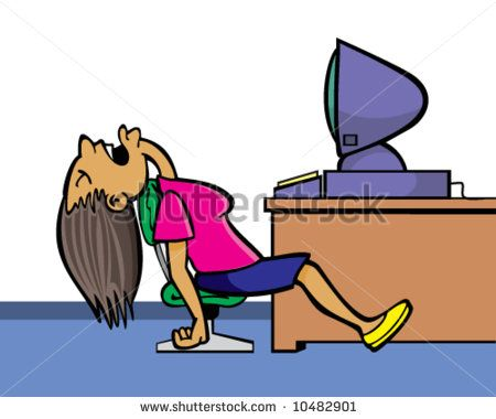 cartoon girl sleeping office
