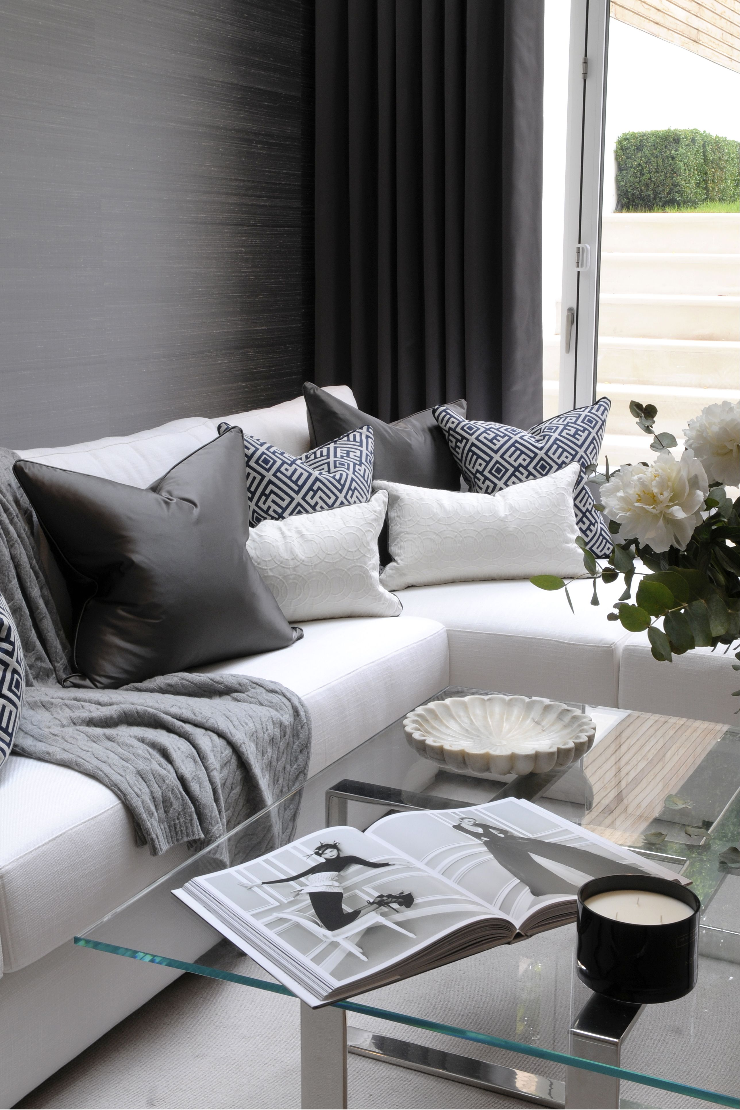 pillow ideas for white leather sofa macys chloe tufted th2 designs  this corner is adorned beautifully with