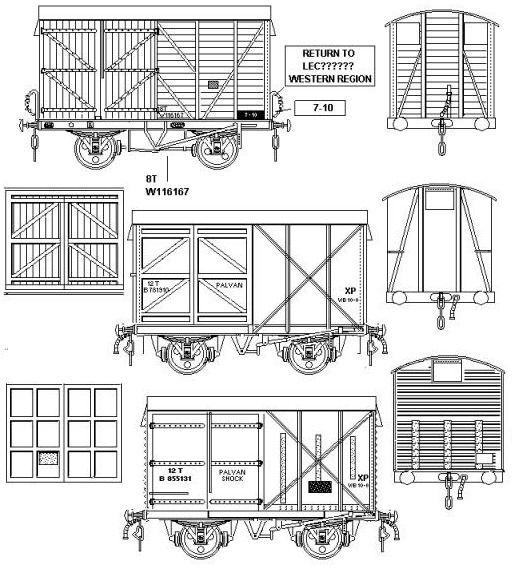 Sketchs showing various British Railways pallet vans