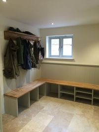 Boot room, with coat racks, shoe and welly storage oak ...