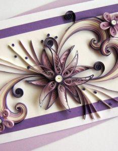 Greeting card valentine  day purple quilled heart flower xl size also rh pinterest