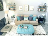 Living Room Tour | Living room turquoise, Pipe shelving ...