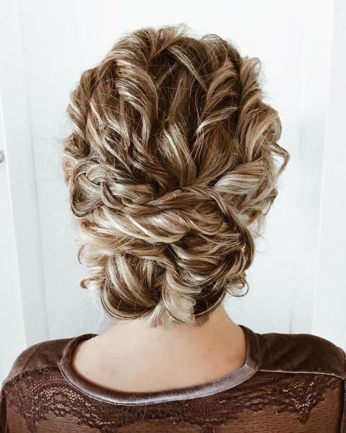 textured updo wedding hairstyle for curl hair