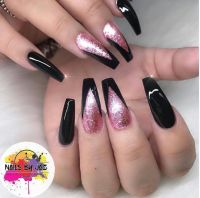 Black and Rose glitter coffin nails | Nails | Pinterest ...