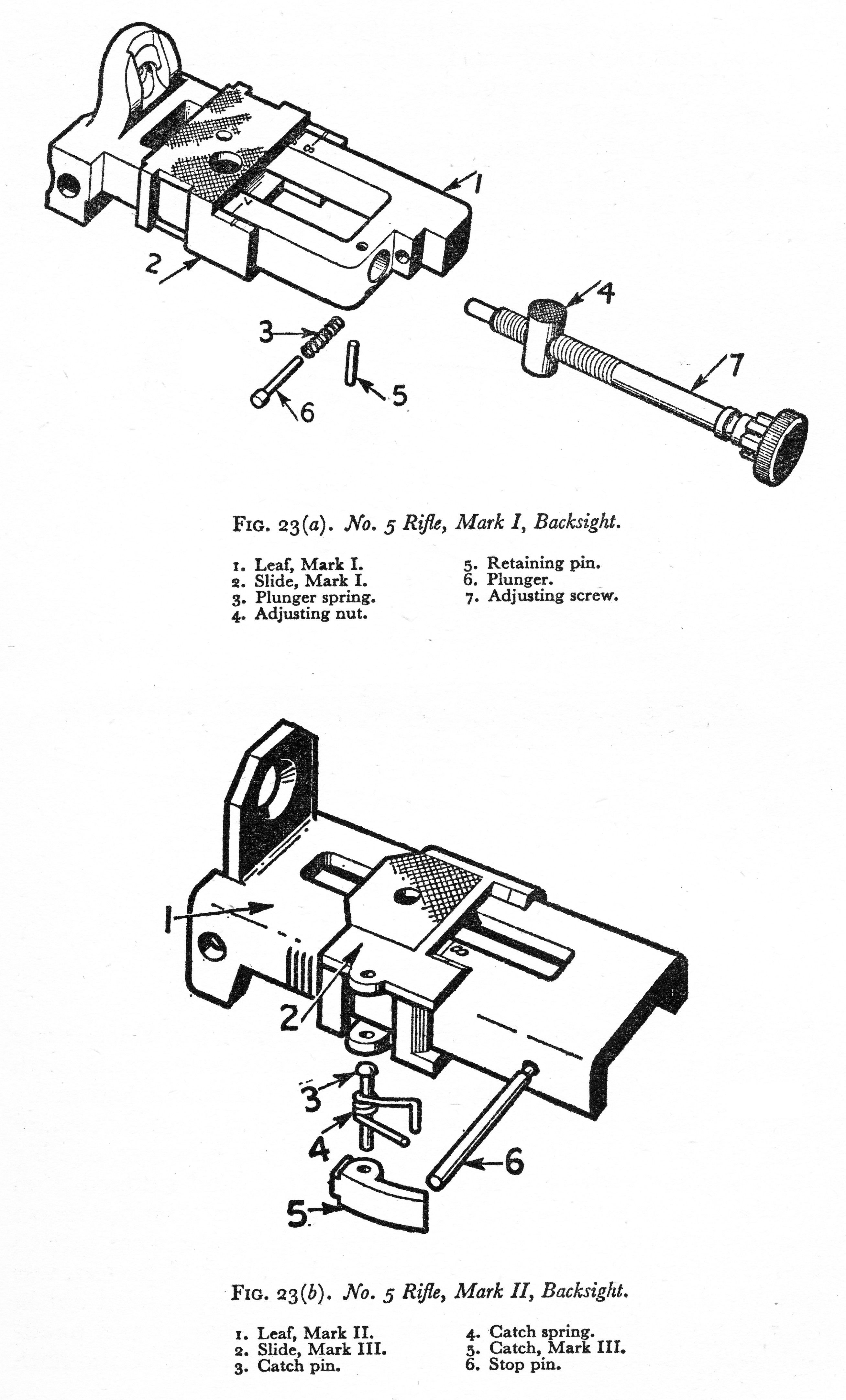 Line Drawing Of No 5 Mki Rear Sight Parts