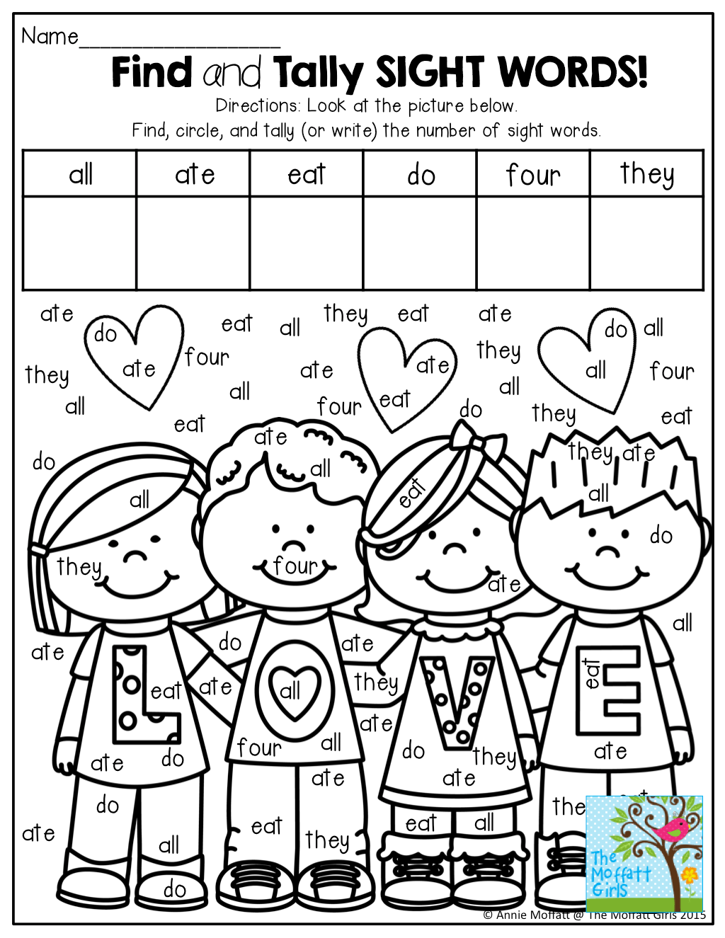 Find And Tally Sight Words Tons Of Fun Printables