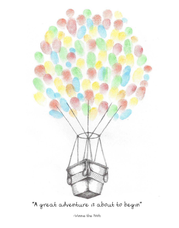 Instant Download Hot Air Balloon Fingerprint Guest Book