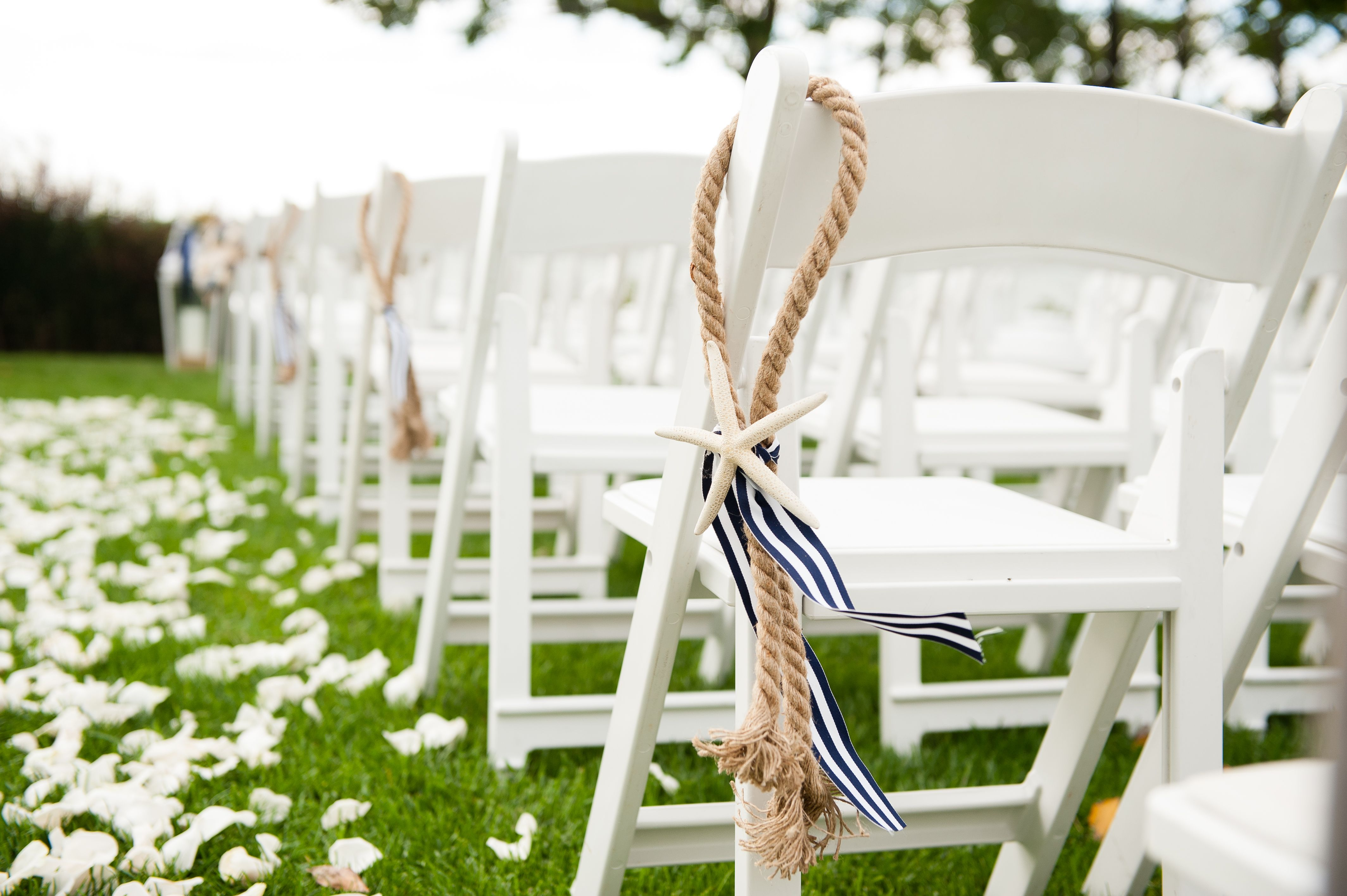 beach wedding chair decoration ideas glass patio table and chairs nautical decor isle rope