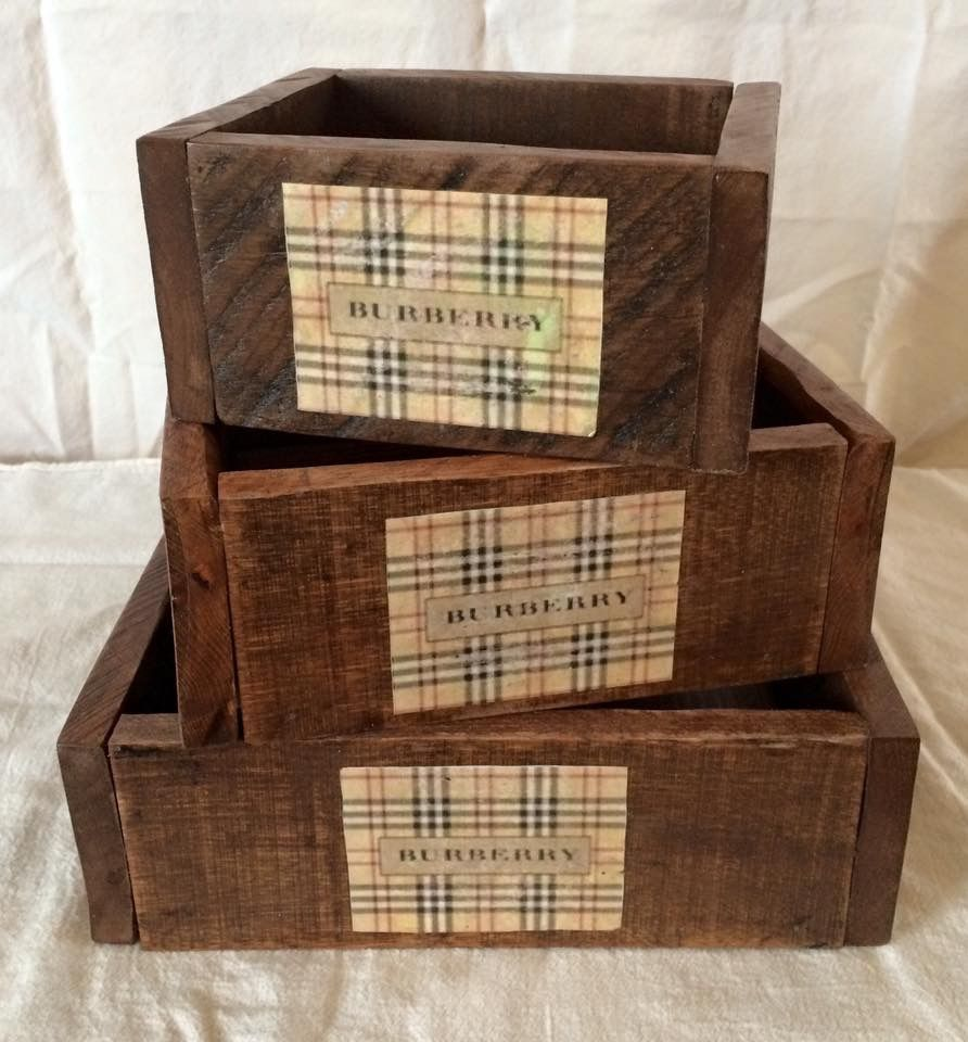 Burberry Inspired Handmade Solid Wood Set Of Three Stackable