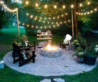 Beautiful backyard scene, with rope lights strung between ...