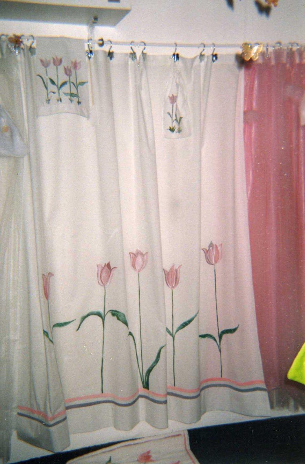 Carolita  Cortinas de tela para baos  PINTURA EN TELA