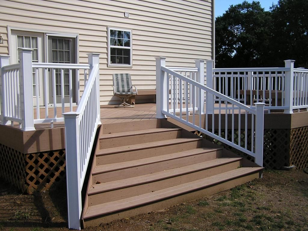 Flared Deck Stair Plans Timbertech Decking With Flared Stairs Decks Photo Gallery