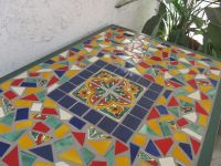 Mexican tile topped table for sale. We love the colors ...