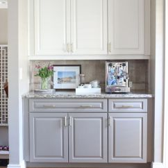 Bottom Kitchen Cabinets Purple Rugs Two Toned White On Top Gray