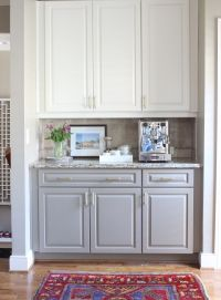 Two toned kitchen cabinets.....white on top, gray on