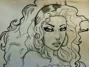 gypsy girl tattoo drawing lion