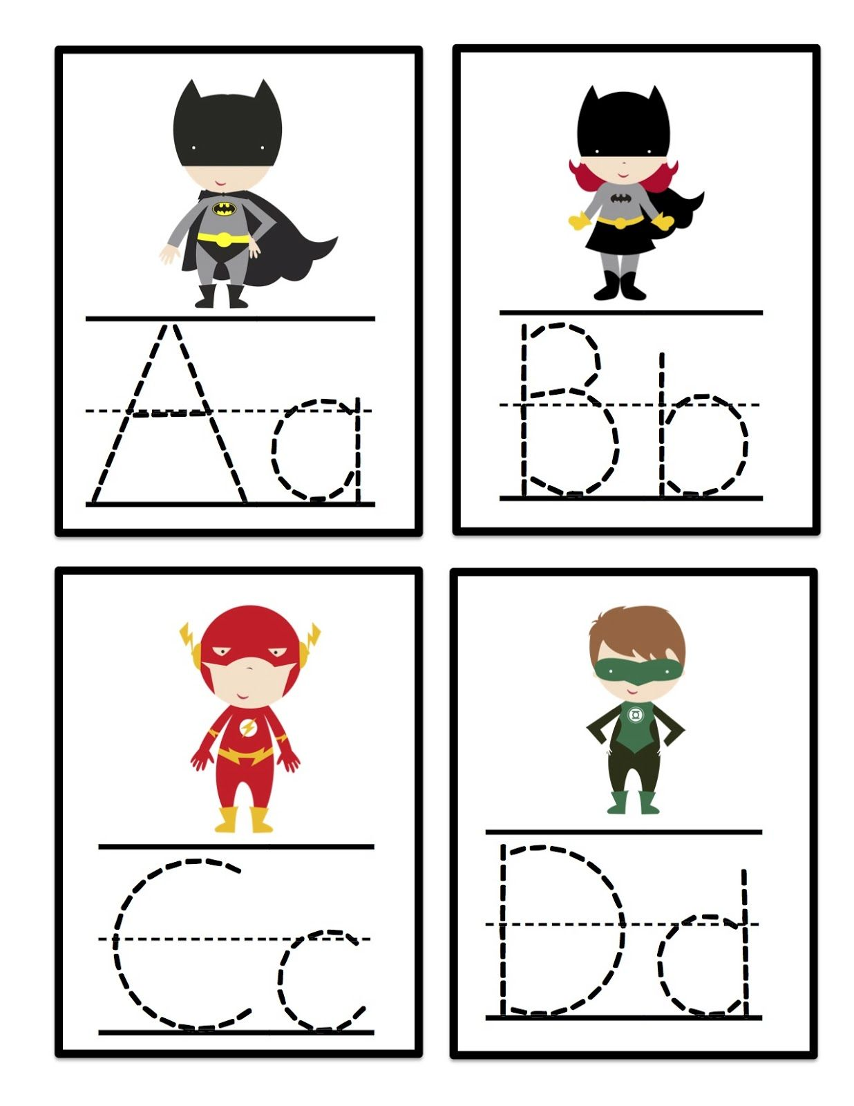 Preschool Printables Super Hero Alphabet Tracing Cards