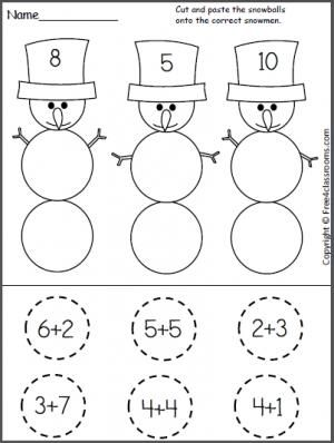 Free Cut and Paste Snowman Addition Worksheet. Students