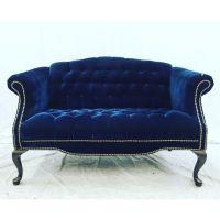 Vintage Navy Blue Tufted Velvet Loveseat | Vintage, Velvet ...
