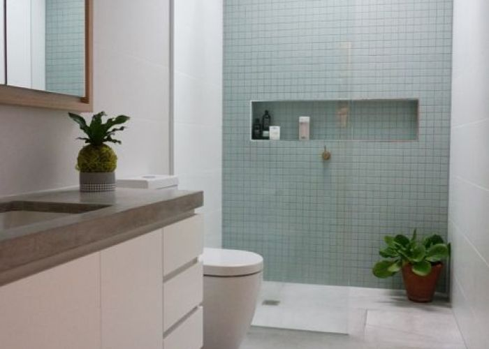 Ensuite with accent tile wall by winston design collaboration also