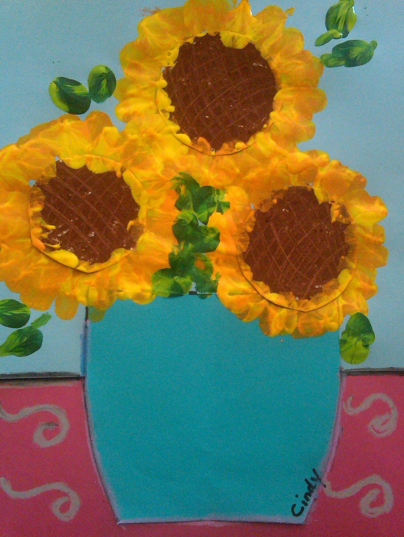 Vincent Van Gogh Fingerprint Painted Sunflowers In A