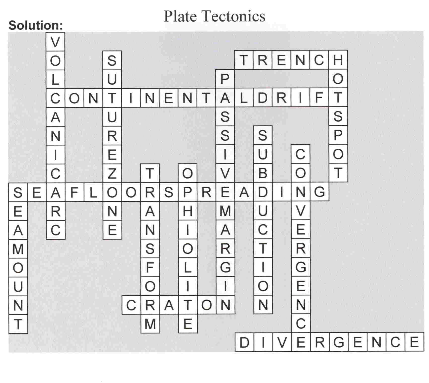 Awesome Plate Tectonics Crossword Puzzle