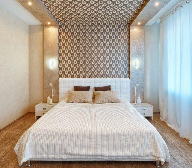 modernes schlafzimmer wand dekorieren tapete braun creme tropfen motive  Schlafzimmer
