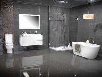 modern bathroom colors grey tiles white floating vanity ...