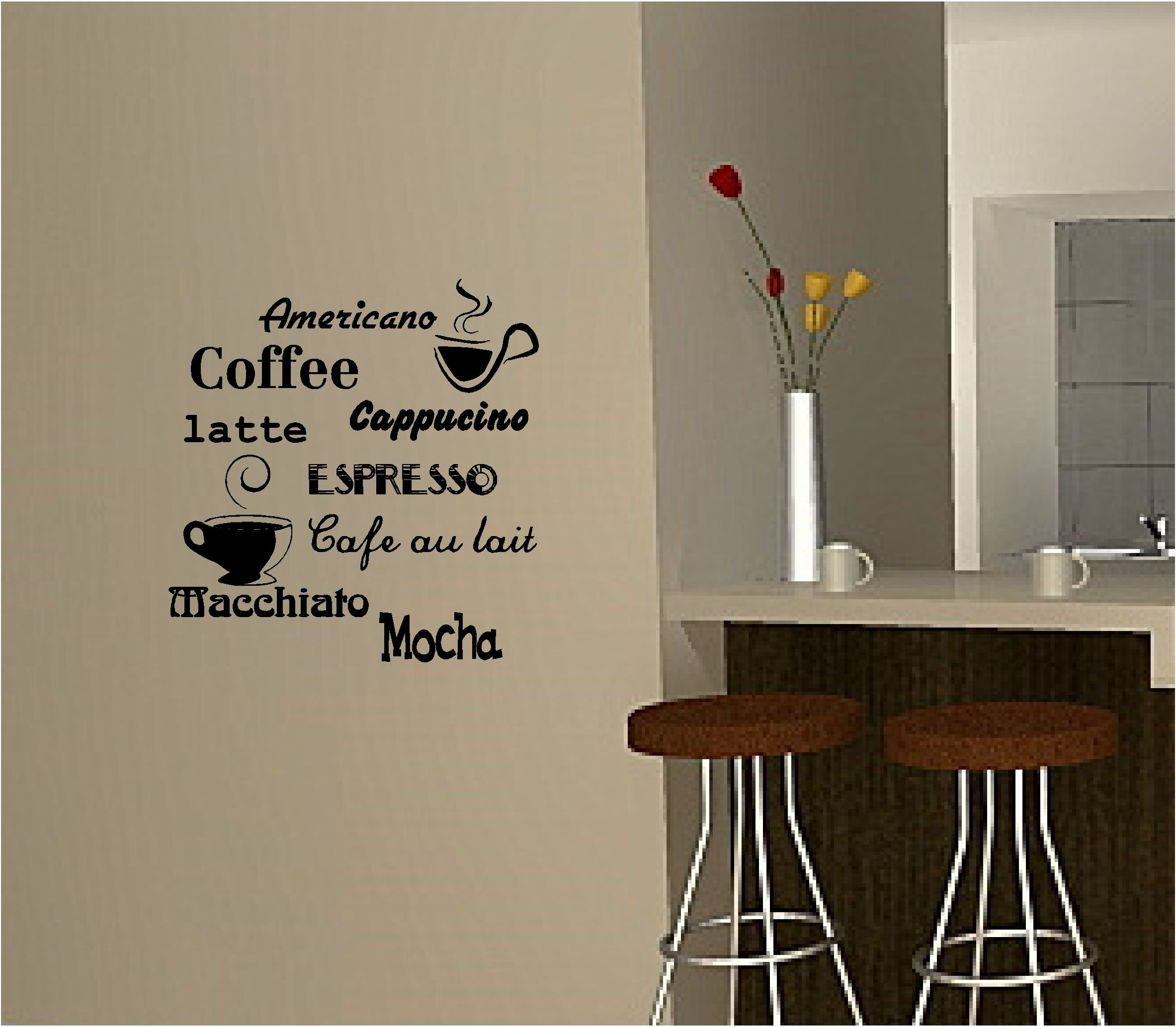 wall decorations for kitchen hamptons design coffee art sticker vinyl quote cafe