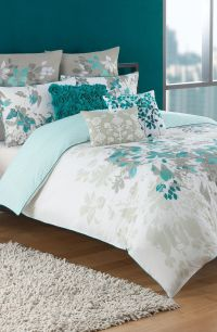 Love this teal, white, and grey bedding set | Bedrooms ...