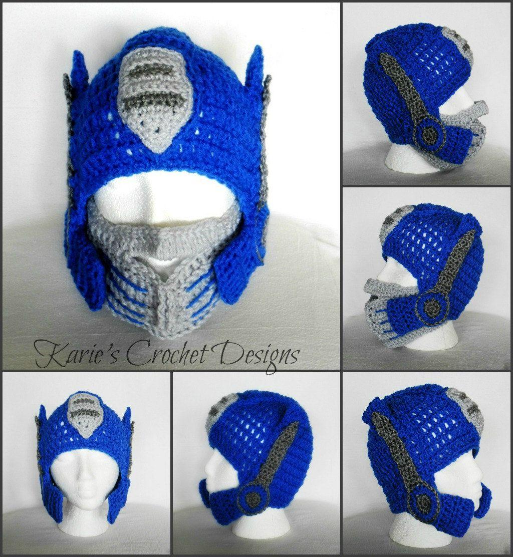 Prime Pattern Crochet Hat Optimus