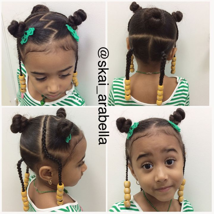 Toddler hairstyle with wooden beads
