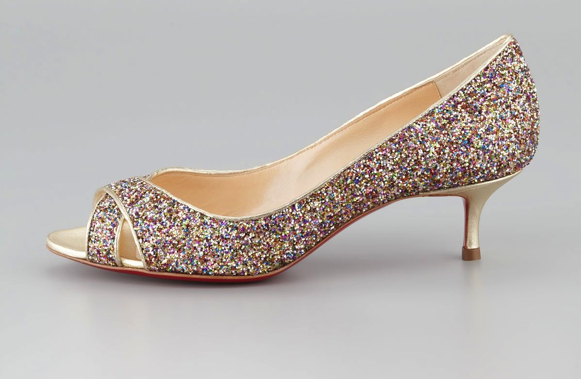 Low Heeled Wedding Shoes for Tall Brides Sparkly Christian Louboutin  Shop  Pinterest