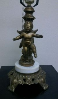 Vintage cherub lamp base brass marble French Chic shabby ...