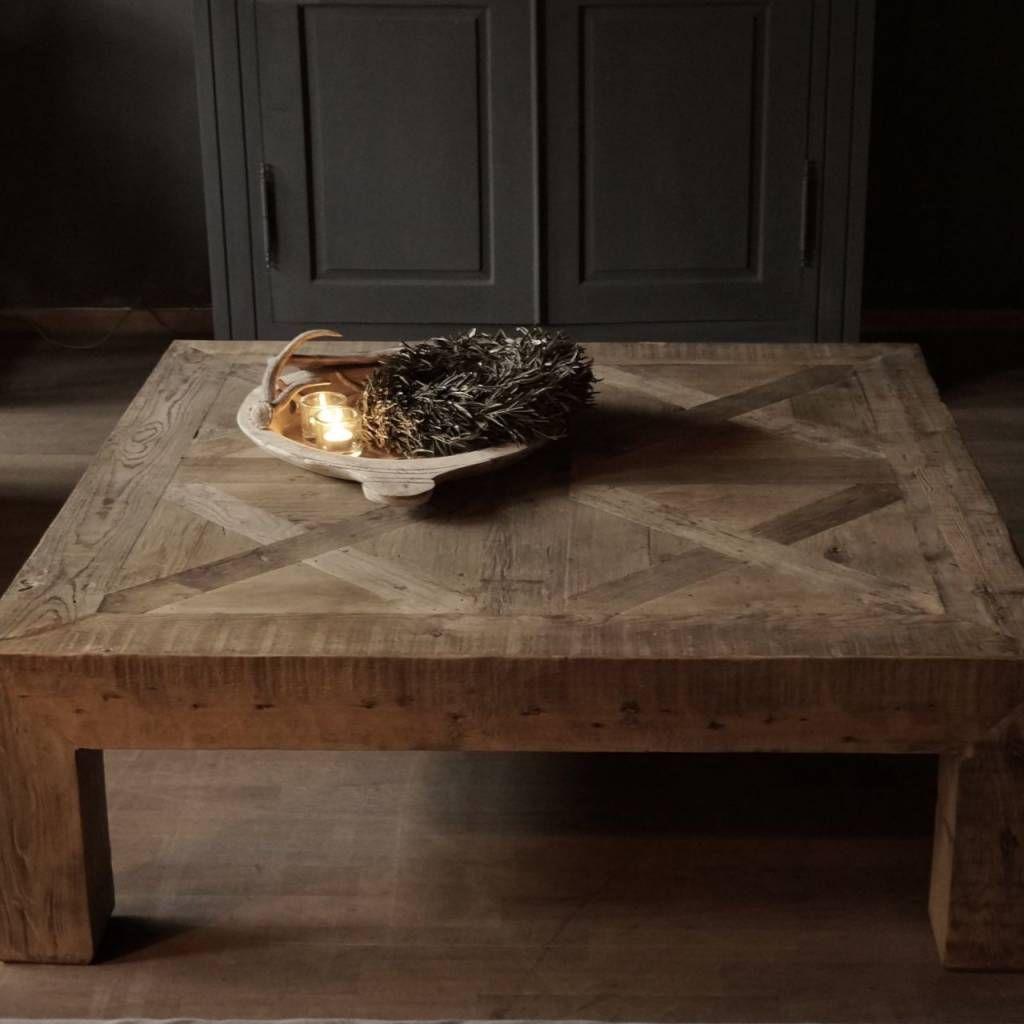 Driftwood houten vierkante salontafel genspireerd op oude