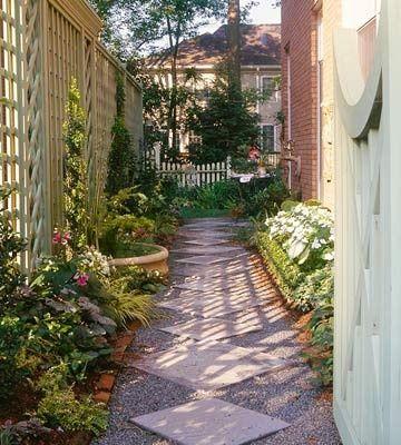 Small Back Yard Garden Landscape Along A Privacy Fence