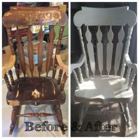 Solid Wood Rocking Chair Restored. Painted White with ...