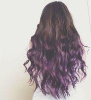 brunette purple ombre dip dye