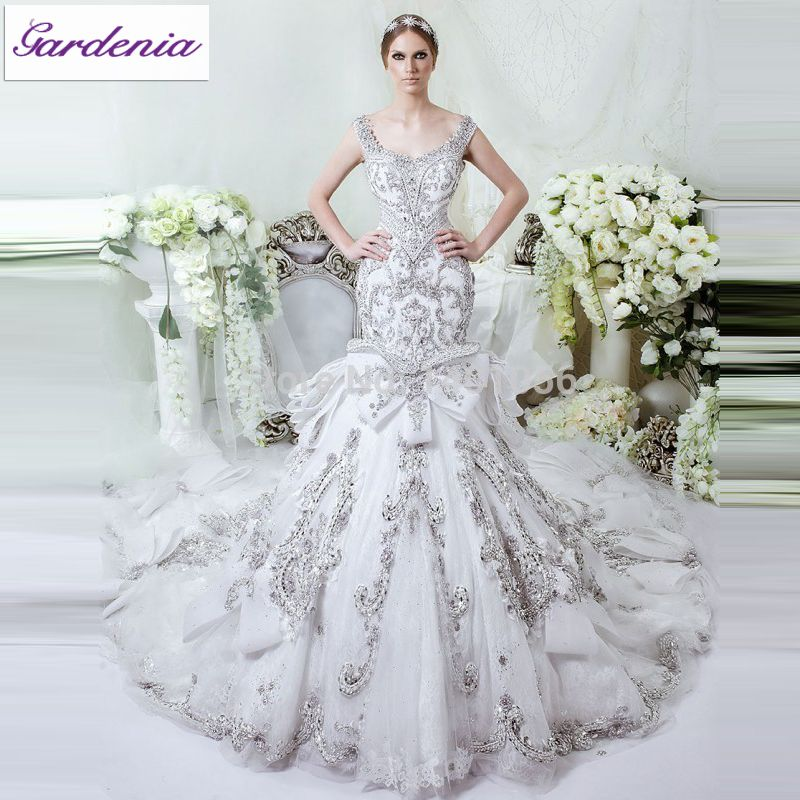 Glamorous bling wedding dress mermaid fit and flare lace