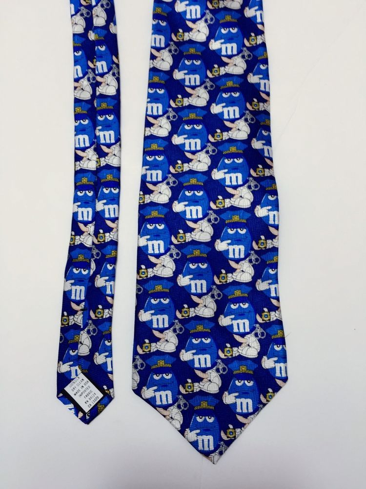 Blue MM Police Man Mens Tie Chocolate Candy NEW NWT MMs