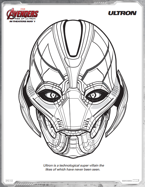 Ultron Avengers Age of Ultron free printable coloring