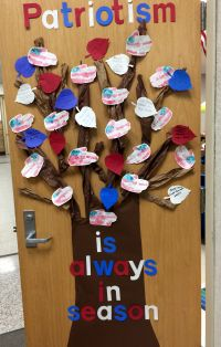 Patriotic door decoration for Veteran's Day. Parents sent ...
