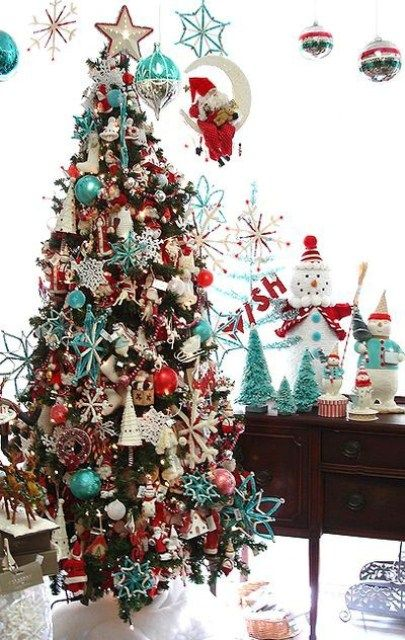 colorful christmas decoration ideas red christmas treesturquoise