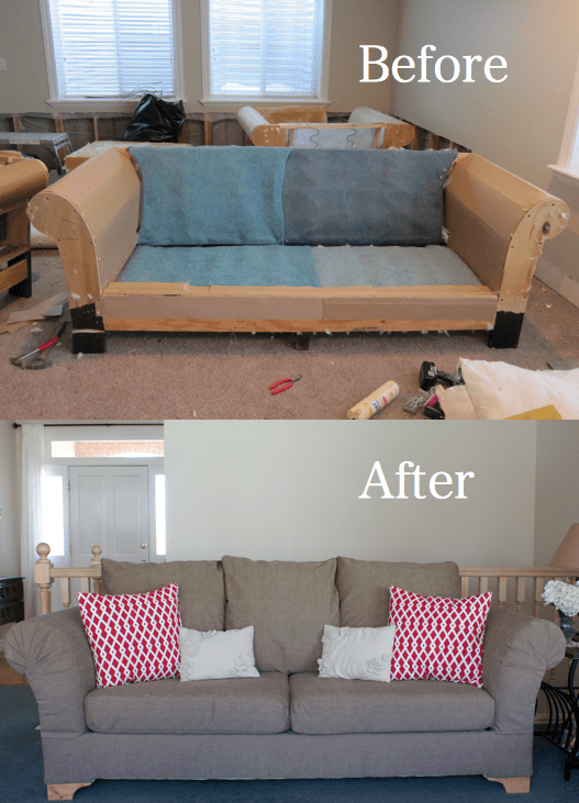 DIY Reupholster Those Ugly Couches Once And For All! Its EASY