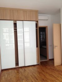 Glorious White Glozzy Sliding Doors Built In Wardrobe On ...