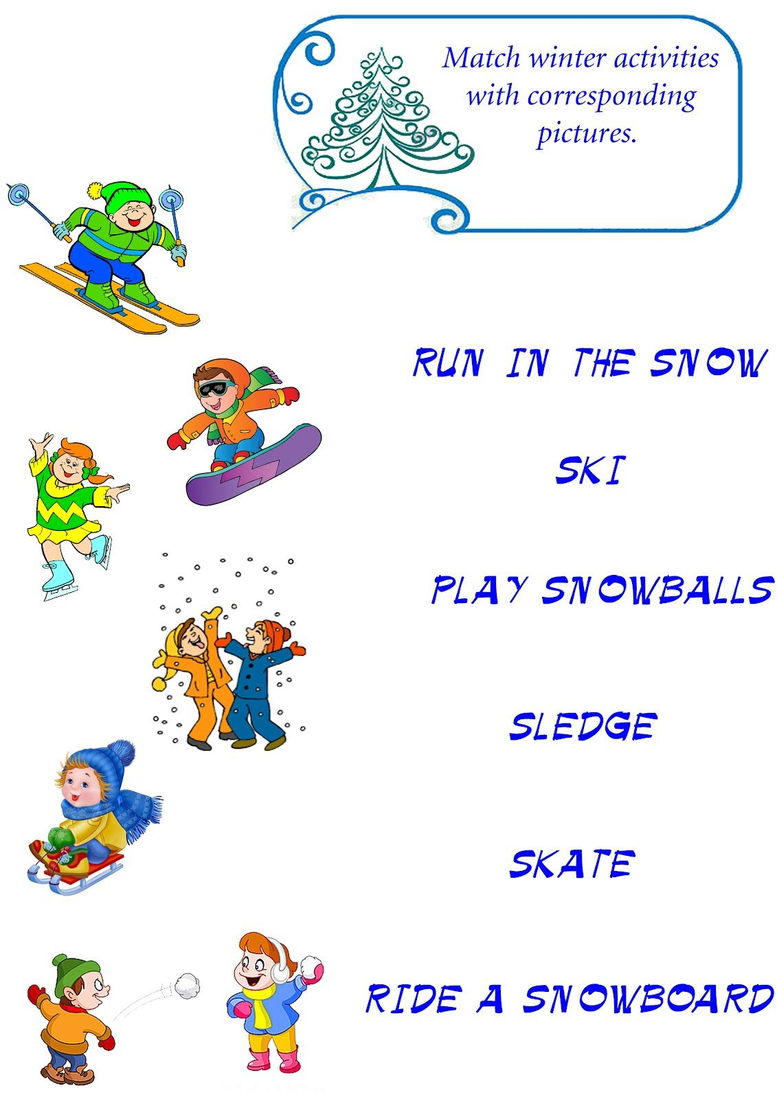 Winter Vocabulary Worksheet Winter Esl English Education Kids