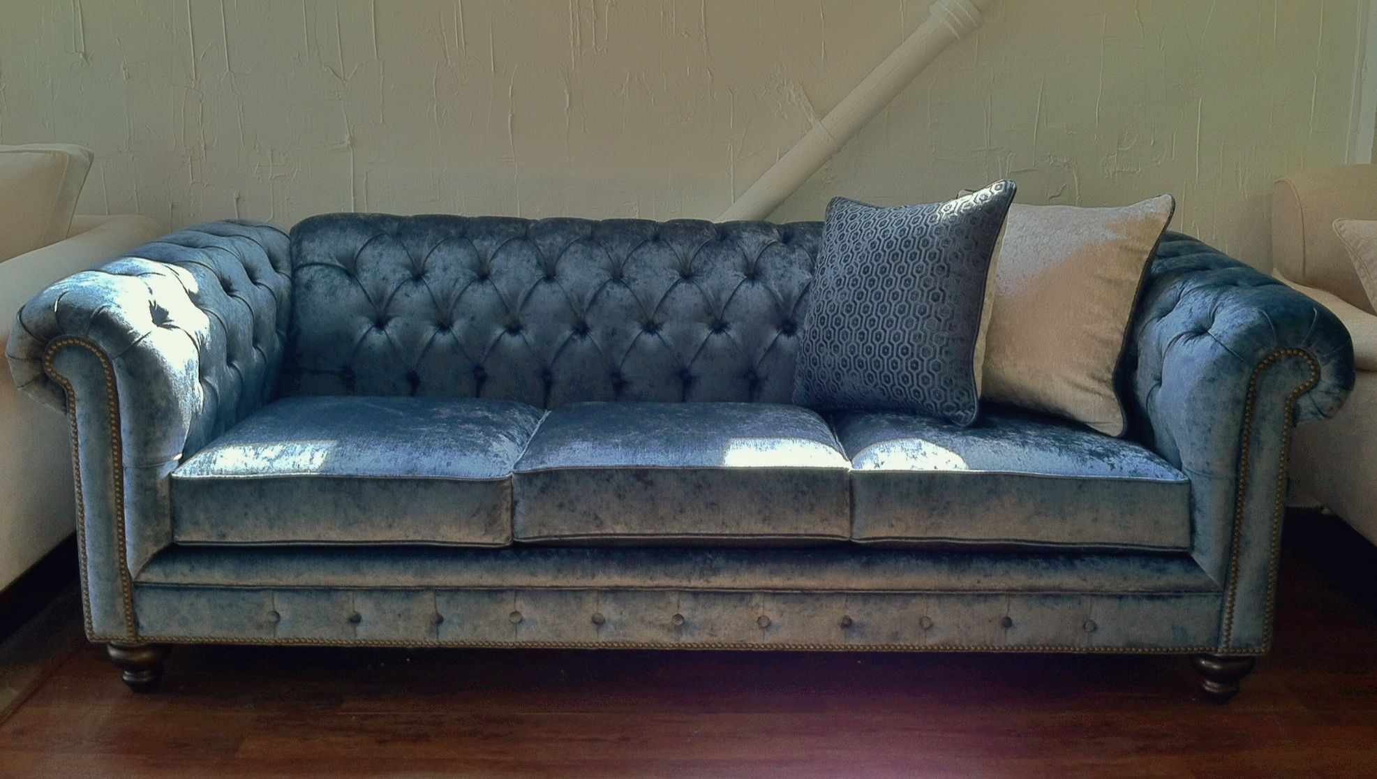 chesterfield style fabric sofa lounge abuja like traditional lapis blue
