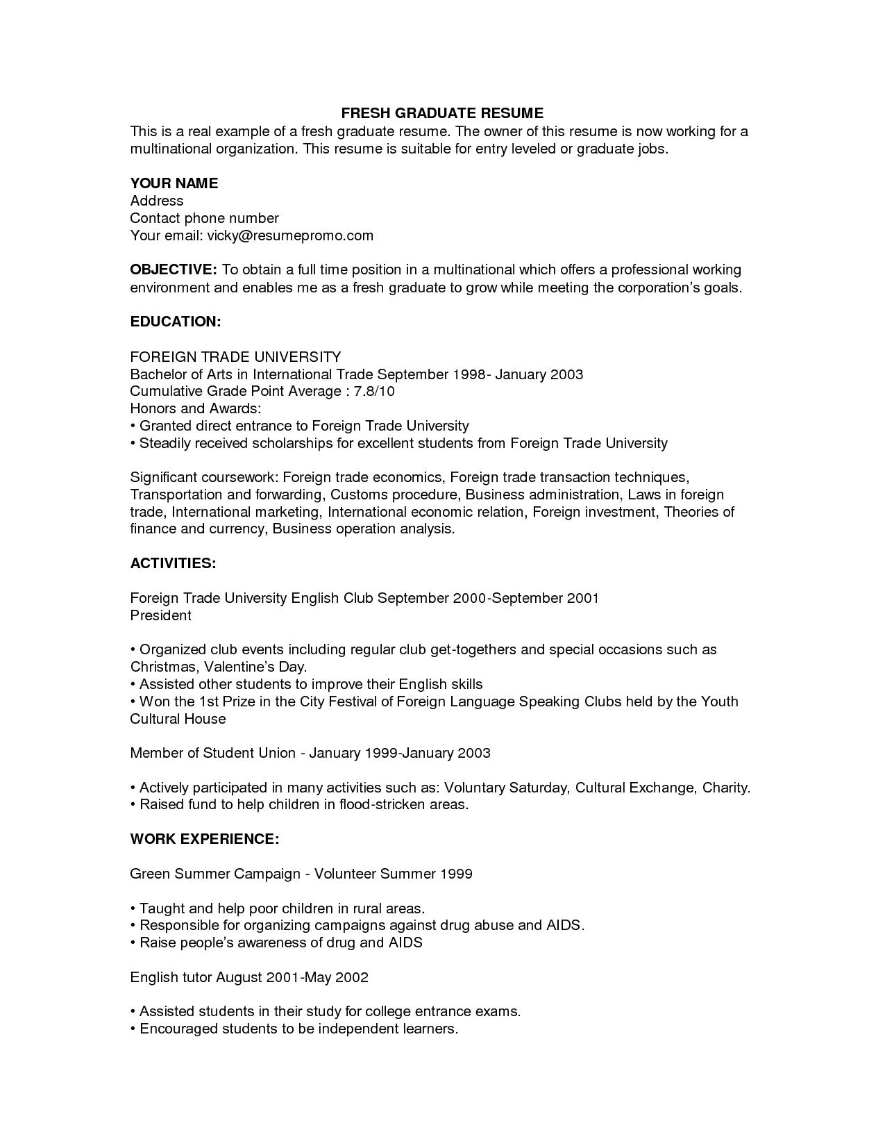 Example Of Resume For Fresh Graduate Resumecareer