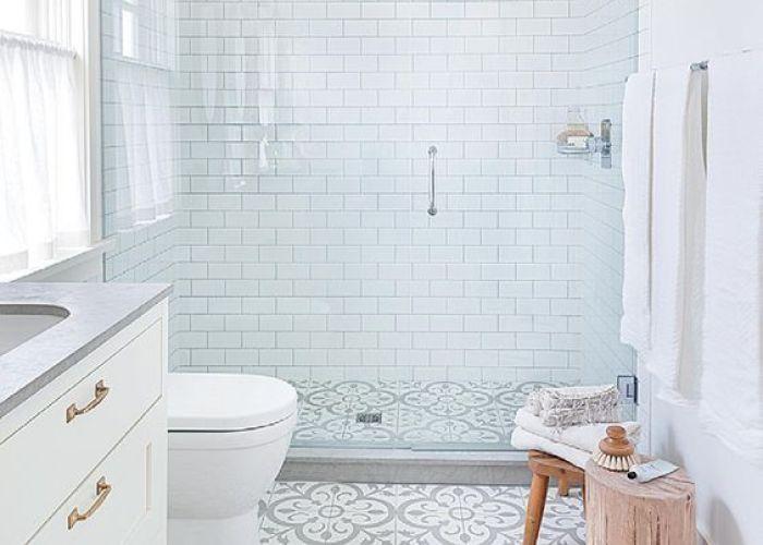 Farmhouse bathrooms patterned tile bathroom floorcement also modern